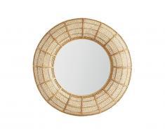 Miroir rond cannage rotin et bambou style ethnique JULIA - D. 95 cm - naturel
