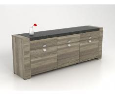 Buffet METEORITE - 3 portes & 3 tiroirs - MDF plateau effet granite