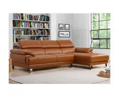 Canapé d'angle en cuir EXCELSIOR II - Caramel - Angle droit