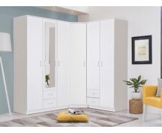 Armoire/Dressing d'angle OLESSIA avec miroir - 6 portes - Blanc