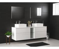Ensemble de salle de bain MAGDALENA suspendus avec double vasque et miroirs - blanc