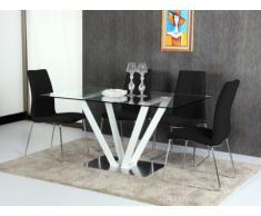 Table à manger CLEONICE - 6 couverts - Verre trempé et acier - Blanc