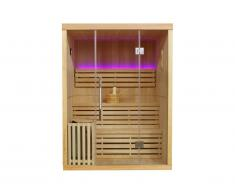 Sauna Traditionnel Finlandais 2/3 places vitré à leds SIGTUNA - L150*l120*H200 cm