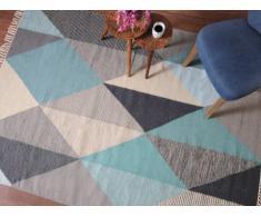 Tapis ALEXEI - 100% Laine - 160*230 cm - Bleu, gris, blanc