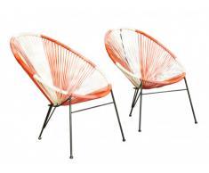Lot de 2 chaises de jardin ALIOS II en fils de résine tressés - Corail, rose, blanc