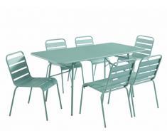 Salle à manger de jardin MIRMANDE en métal - une table L.160 cm et 6 chaises empilables - Vert amande