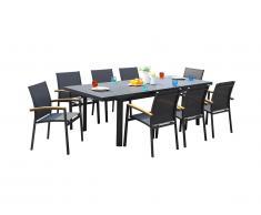 Salle à manger de jardin NAURU en aluminium : une table extensible 180/240cm et 8 fauteuils empilables avec accoudoirs acacia