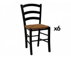 Lot de 6 chaises PAYSANNE - Hêtre massif teinté noir, paille de riz