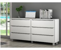 Commode 6 tiroirs UNISSON - blanc