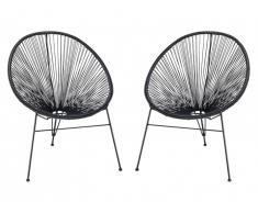 Lot de 2 chaises de jardin ALIOS II en fils de résine tressés - noir