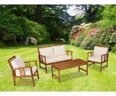 Salon de jardin KANPUR en acacia: une table, un canapé 2 places, 2 fauteuils