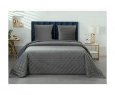 Couvre lit matelassé 240x260 cm + 2 taies d'oreillers 65x65 cm ALYESKA - polyester effet velours - gris