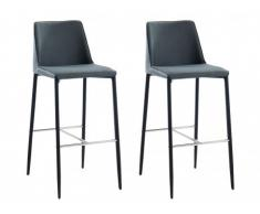 Lot de 2 tabourets de bar MASAKO - Simili & Tissu - Noir & Anthracite
