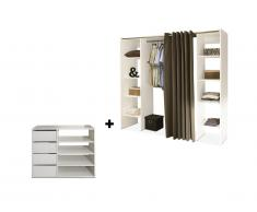 Ensemble dressing + meuble de rangement EMERIC - Blanc & Taupe