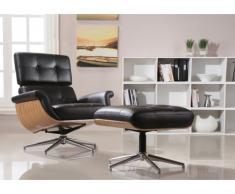 Fauteuil lounge pivotant cuir supérieur ARCHIBALD - noir