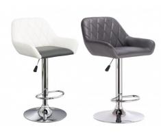 Lot de 2 tabourets de bar WICHITA II - Simili - Blanc assise grise