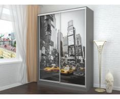SOLDES - Armoire avec impression New-York CITADINE - 2 portes coulissantes - L.160 cm