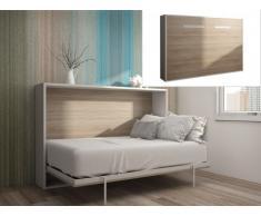 Lit escamotable EUGENIA ouverture horizontale automatique - 140x200cm - Blanc/Chêne