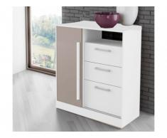 Commode DEVY - 1 niche, 1 porte et 3 tiroirs - Blanc & Taupe