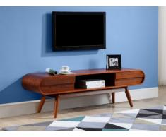 Meuble TV DAVEN - 2 tiroirs & 1 niche - Pieds noyer - Coloris Noyer