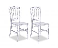 Lot de 2 chaises empilables VICOMTE - Polycarbonate - Coloris transparent