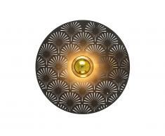 Applique murale style art déco HOVY - métal - D. 35 cm - Noir et doré