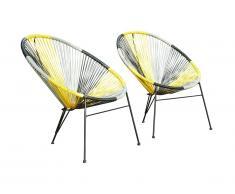 Lot de 2 chaises de jardin ALIOS II en fils de résine tressés - Jaune, gris, noir