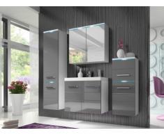 Ensemble CLEMENCE à leds - meubles de salle de bain - laqué gris