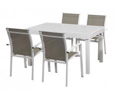 Salle à manger de jardin PAHOA en aluminium : une table extensible 135/270cm et 4 fauteuils empilables - Blanc