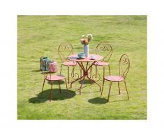 Salle à manger de jardin en métal façon fer forgé GUERMANTES: une table et 4 chaises empilables terracotta