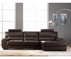 Canapé d'angle en cuir METROPOLITAN II - Chocolat - Angle droit