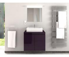 Meubles de salle de bain LAVITA II suspendus avec simple vasque et miroir - Prune