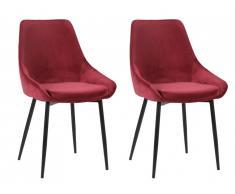 Lot de 2 chaises MASURIE - Velours - Bordeaux