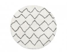 Tapis rond shaggy style berbère MINEA - D. 160 cm - beige et gris