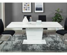 Table à manger extensible AMELLE - 6 à 8 couverts - MDF Laqué Blanc