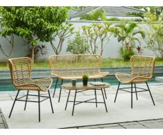 Salon de jardin NICOYA en résine tressée: un canapé 2 places, 2 fauteuils et une table basse