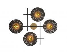 Applique murale géométrique LUTON - métal - 4 lampes - Noir et doré