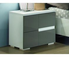 Chevet gauche GUILHEM - 2 tiroirs - Laqué gris et blanc