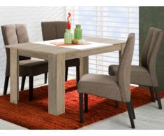 Table à manger BERYLLA - 6 couverts - Coloris Chêne & Blanc