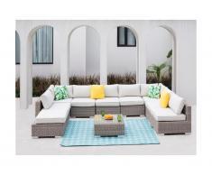 Salon de jardin modulable BUSAN en résine tressée: canapé panoramique 7 places, 2 poufs et une table basse