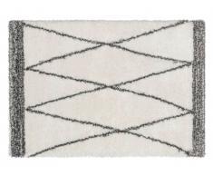Tapis shaggy style berbère HANIA - Polyester - 200 x 290 cm - beige et gris