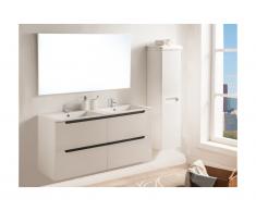 Ensemble SELITA - meubles de salle de bain avec double vasque et miroir - Laqué blanc