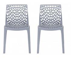 Lot de 2 chaises empilables DIADEME - Polypropylène - Gris clair