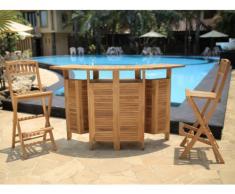 Bar de jardin et 2 chaises de bar BYBLOS - Teck