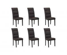 Lot de 6 chaises TADDEO - Synderme chocolat - Pieds bois