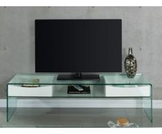 Meuble TV ABBY - 2 tiroirs - MDF laqué et verre trempé - Coloris blanc