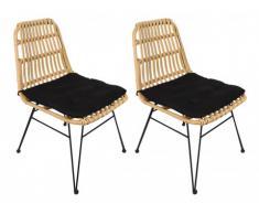Lot de 2 chaises de jardin NOSARA en résine tressée - Assise noire