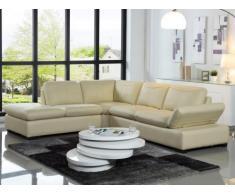 Canapé d'angle en cuir ONYX II - Ivoire - Angle gauche