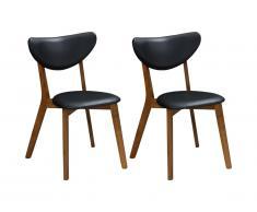 Lot de 2 chaises LISETTE - Hévéa massif & Simili - Noyer et noir