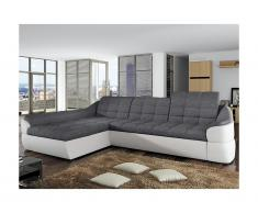 Canapé d'angle convertible en tissu et simili FAREZ - Bicolore gris et blanc - Angle gauche